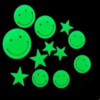 """Наклейки флуоресцентные """"Смайлы со звездами"""", 12шт"""